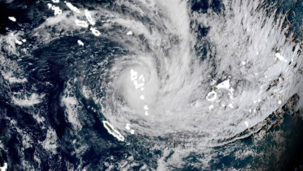 Intense tropical cyclone increases in strength over the island state of Tonga