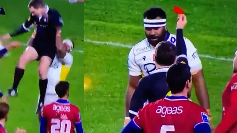 Fiji's Raisuqe red-carded for lifting up French referee